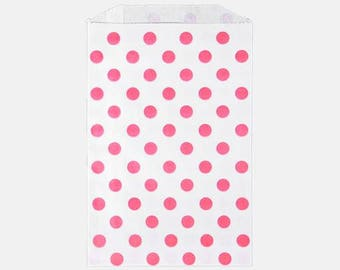 Pink Polka Dot party bags - Pink Dot Merchandise Bag - Pink Polka dot middy bag - 6x9 polka dot party bag - Polka Dot Candy Buffet bag