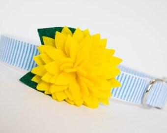 Seersucker Flower Dog Collar - Yellow Dahlia Turquoise
