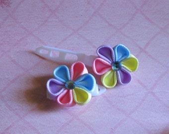 Pastel Kanzashi Flower Plastic Barrette