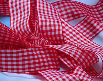 By the yard red gingham Ribbon