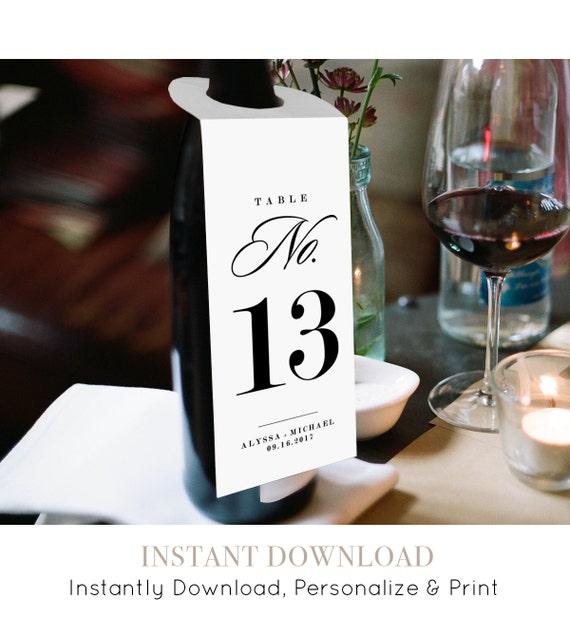 Wine Table Number Card Template Printable Wedding Wine Bottle