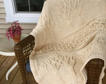 Crochet Tree of Life Afghan | Tree and Flower Throw Blanket