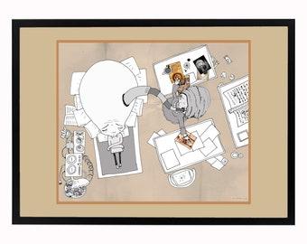 "WorryBoy framed signed digital print ""Professor Hakim investigates"""