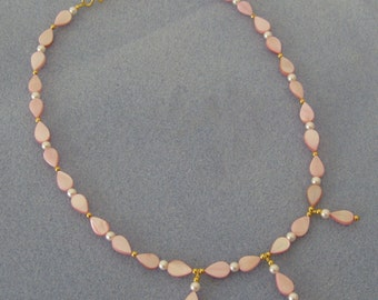 Pink Mother-of-Pearl Teardrop Necklace and Earrings