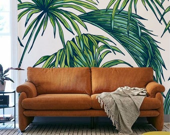 Palm leaf wall mural, Palm leaves temporary wall mural, Palm leaf wall covering, Tropical leaf wall mural for living room, Green leaves