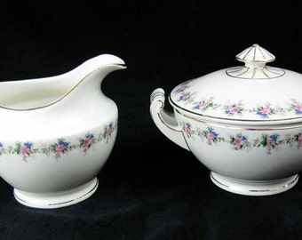 M. Z. Czechoslovakia Altrohlau Covered Sugar Bowl & Creamer Pink Flowers
