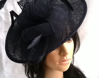 Navy Blue Feather Fascinator..Stunning shaped Fascinator on a Headband..