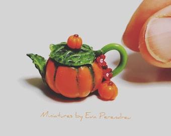 Miniature pumpkin teapot for dollhouse scale