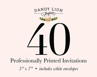 40 Professionally Printed Invitations (Free Shipping)