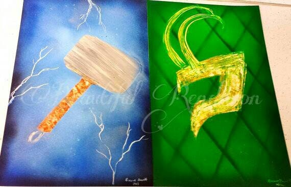 hammer of thor spray paint art fan art geeky gift idea
