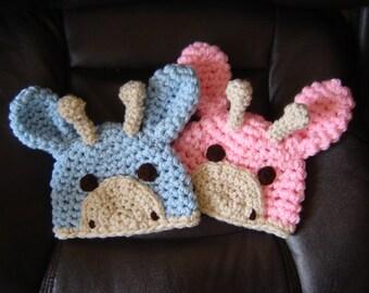 2 Little Giraffe Hats Crochet Photography Prop Sizes newborn, 0-3 months, 3-6 months