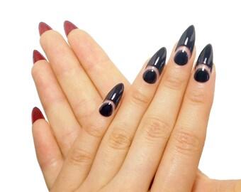 Black French Louboutin Nails / Fake nails, press on nails, nail art, gift women, jewelry, Christian Louboutin, Kylie Jenner, wedding, travel