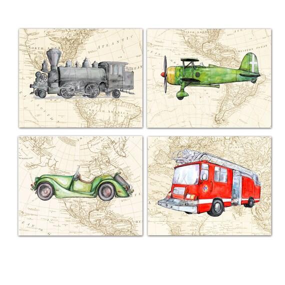 Fire Truck Train Car Airplane On Worlld Map Set 4 Prints Fire