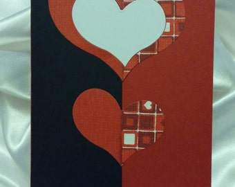 Red/white plaid hearts card
