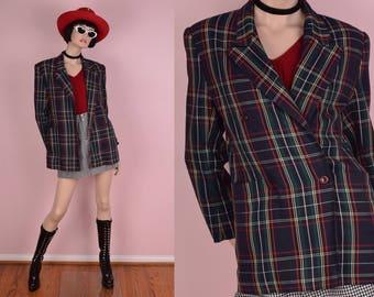 80s Plaid Blazer/ US 5-6/ 1980s/ Jacket