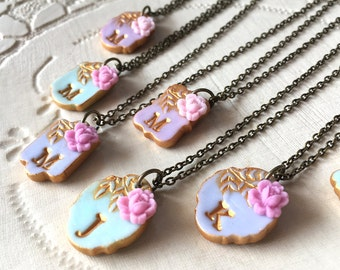 Cornflower, Periwinkle and Aqua Bridesmaid Letter Necklaces, Set of 7, Spring and Summer Wedding