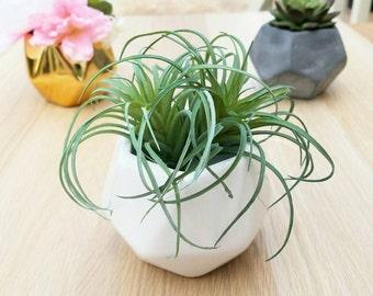 Geometric Planter - White Geometric Planter, Ceramic Geometric Planter, White Wedding Centerpiece, Geometric Vase