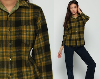 Wool Flannel Shirt Olive Green Plaid 70s Grunge Long Sleeve Button Up 1970s Vintage Lumberjack Hipster Checkered Retro Small Medium