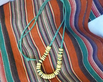 Turquoise Suede Necklace with Natural Wood Beads