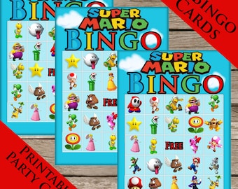 Super Mario Bros. Bingo! 10 Extra Cards! Digital download! Mario Brothers Printable party Game!
