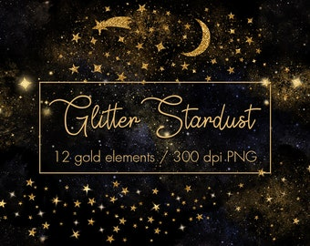 Gold stardust clipart, Gold stars clipart, Magic dust, Star overlays, Night sky, Galaxy clipart, Star clipart,Gold star, Moon clipart, png
