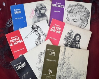 Art books, Learn to Draw, Set of six books, Drawing, Cartoons, Portraits, Trees, People, Dogs and with pen and ink. 1960s