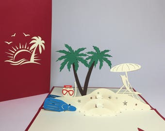 Summer Beach Pop Up Card - Coconut Tree Birthday Card - Pop Up Holiday Card - 3D Father's Day Card - Dad Birthday Card - Dad Get Well Card