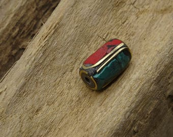 Long tube 14mm Nepalese bead turquoise and coral