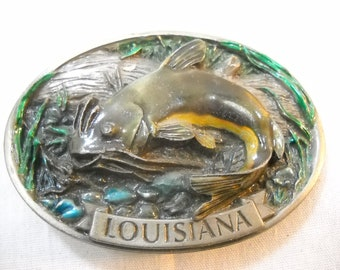 1986 Louisiana Catfish Pewter Belt Buckle Made in USA Free Shipping