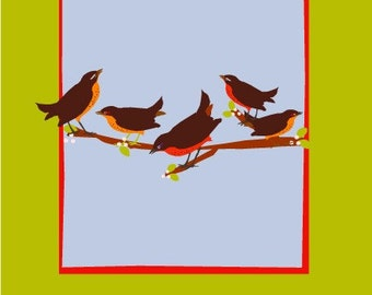 five birds on a branch notecard collection