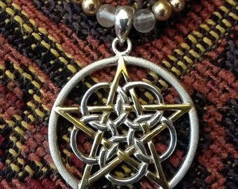 "18"" Pentacle Necklace - .925 Sterling Silver and Gold Vermeil - Pearls and Rose Quartz"