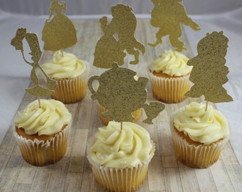 Beauty and the Beast Cupcake toppers/Beauty and the Beast party/Beauty and the Beast
