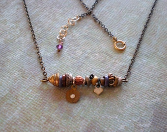 Bohemian Chic Jewelry   Eclectic Elements   Beaded Bar Necklace   Mixed Metal   Gift Bestie BFF    Birthday Gift Little Sister   Urban Boho