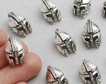 Antique Silver Helmet Beads,Helmet Beads,Helmet Charms,15/90Pieces,Silver Helmet Charms, Silver Plated Supplies,18x11mm,sku/AK2