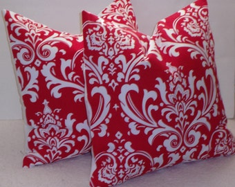 SALE  TWO 20 x 20 Christmas Lipstick Red Damask  Pillow Covers,Throw Pillow, Pillow Cover