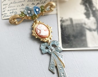 cameo brooch whimsical jewelry fairy tale princess floral brooch flower brooch modern vintage style victorian something blue SUNDAY BEST