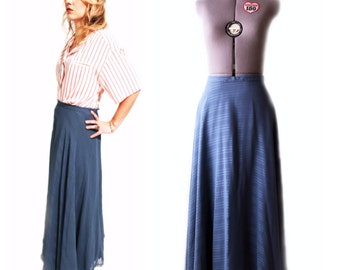 Vintage 1970s Neiman Marcus Blue Flowy Maxi Skirt with Tags