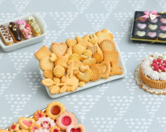 Assorted Designs of French Butter Cookies on Porcelain Tray - 12th Scale Miniature Food