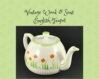 Vintage Ellgreave Teapot Orange Tulips Ivory Body Ironstone by Wood & Sons England