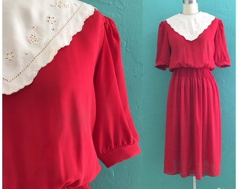 vintage 80's red shirt dress with eyelet bib