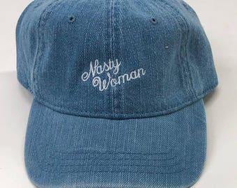NASTY WOMAN Dad Hat (Cursive)