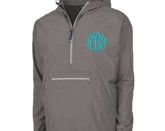 Personalized Rain Jacket | Preppy Windbreaker | Pack N Go Monogram Pullover | Hooded Rain Coat | Gray Quarter Zip | Grey Pack N Go
