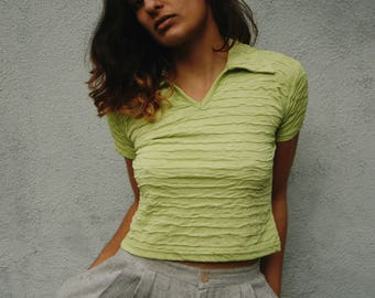 Limón collared crop crop top belly shirt lime blouse xs petite vintage 90s