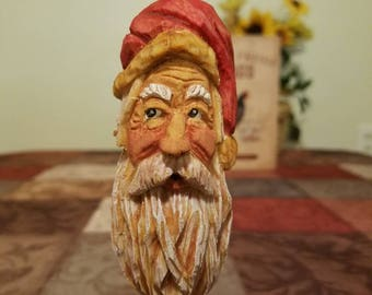 Santa...jolly st.nick whimsical hand carved ornament.