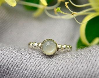 Moonstone Ring, Bridesmaids Gifts, Sterling Silver Stacking Ring with White Moonstone, Bridesmaid Gifts, June Birthstone