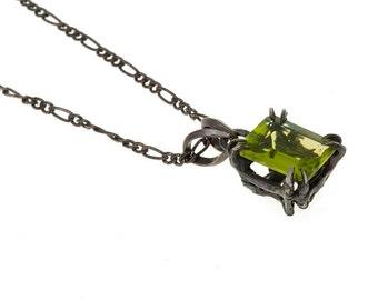 Catbird Solitaire Pendant Peridot 10x8 2.56 ct, Emerald cut,  Blue Bayer Design NYC