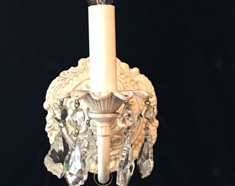 Victorian Vintage style Electric Wall Light Sconce shabby chic,with clear French cut Crystals available in any finish