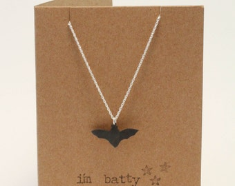 I'm Batty About You Silver Necklace