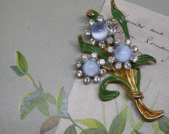 1940s Blue Moonglow Flower Bouquet Fur Clip or Brooch    NG11
