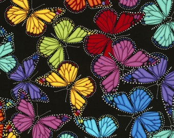 Rainbow Butterflies Cotton Fabric